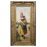 Antique Original Oil Painting – Portrait of a Dutch Girl