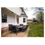 Outdoor Furniture, slate top table with fire pit & four chairs with cushions