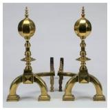 Very Nice Large Brass Fireplace Andirons