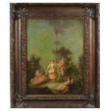 "18th Century Oil Painting with original hand carved wood frame - Entitled ""Maypole"""