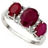 Elegant Genuine Ruby & Diamond 3 Stone Ring