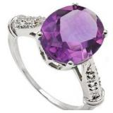 Large 5ct Amethyst & Diamond Set Ring