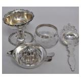 4 Piece Sterling Silver and Silverplate Juicer and Tea Set