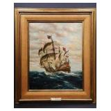 "Marine Oil Painting by George Schuldes Entitled ""Ship O' The Line"" 