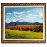 SYLVIA ADLER COUNTRY VINEYARD HAND EMBELLISHED GICLEE ON CANVAS SIGNED AND NUMBERED