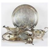 Sterling silver table set, 2 platters, and various dishes