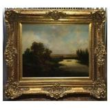 Very Large Antique Landscape Oil Painting