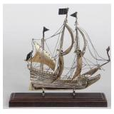 Dutch 833 silver model ship, marked