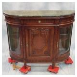 "Marble-topped Carved Mahogany Single Door Display Cabinet 59""x 17""x 47.5""h"