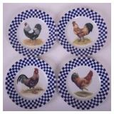 Set of Folk Art Plates with Roosters