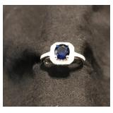 1 1/5 CARAT CREATED BLUE SAPPHIRE & 1/3 CARAT (36 PCS) FLAWLESS CREATED DIAMOND 925 STERLING SILVER