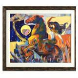 "Amazing Original Tadeo Zavaleta Oil Painting | Oil on Canvas| Entitled  ""Cabalgamos Como Uno"" 