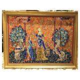 Several Framed and Unframed Tapestry Art
