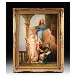 "Gorgeous 19th Century Oil Painting | 48″ x 38″ | Italian School | Entitled ""Madonna Enthroned with S"