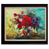 Large oil on canvas still life of a bouquet of various flowers