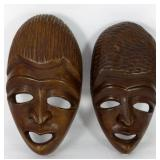 PR AFRICAN CARVED WOOD TRIBAL MASKS
