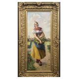 An original oil painting on canvas depicting a Dutch woman in traditional dress, gathering flowers w