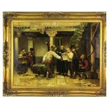 "Antique European Oil Painting Entitled ""Courtyard News"""