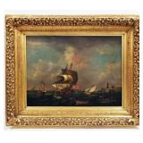 Large 19th Century English School Maritime Oil Painting