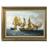 "Large English Marine Oil Painting by Duran Faine Entitled ""Two Brigs Fighting"""