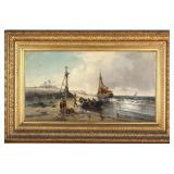 Large 19th Century Marine Coastal Oil Painting by French Artist Jean Mazzella