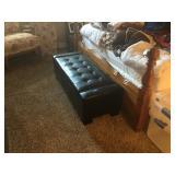 Leather storage bench