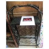 Wrought iron and marble wine rack