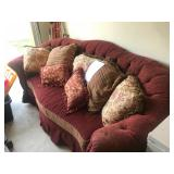 High back couch with cushions