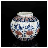 Ming Style Antique Blue& White And Red Jar