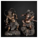 19th Meiji Period Japanese Antique Wood Sculptures