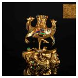 18-19th Antique Manchu Style Gilt Figure