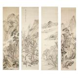 Group Chinese Antique Ink Brush Paintings On Silk