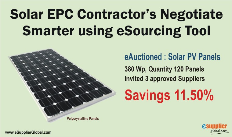Solar EPC Contractors Negotiate With Suppliers Using eSourcing Tool