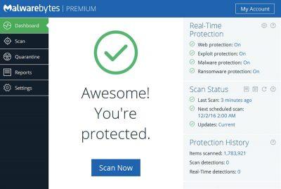 Malwarebytes free download Screenshot