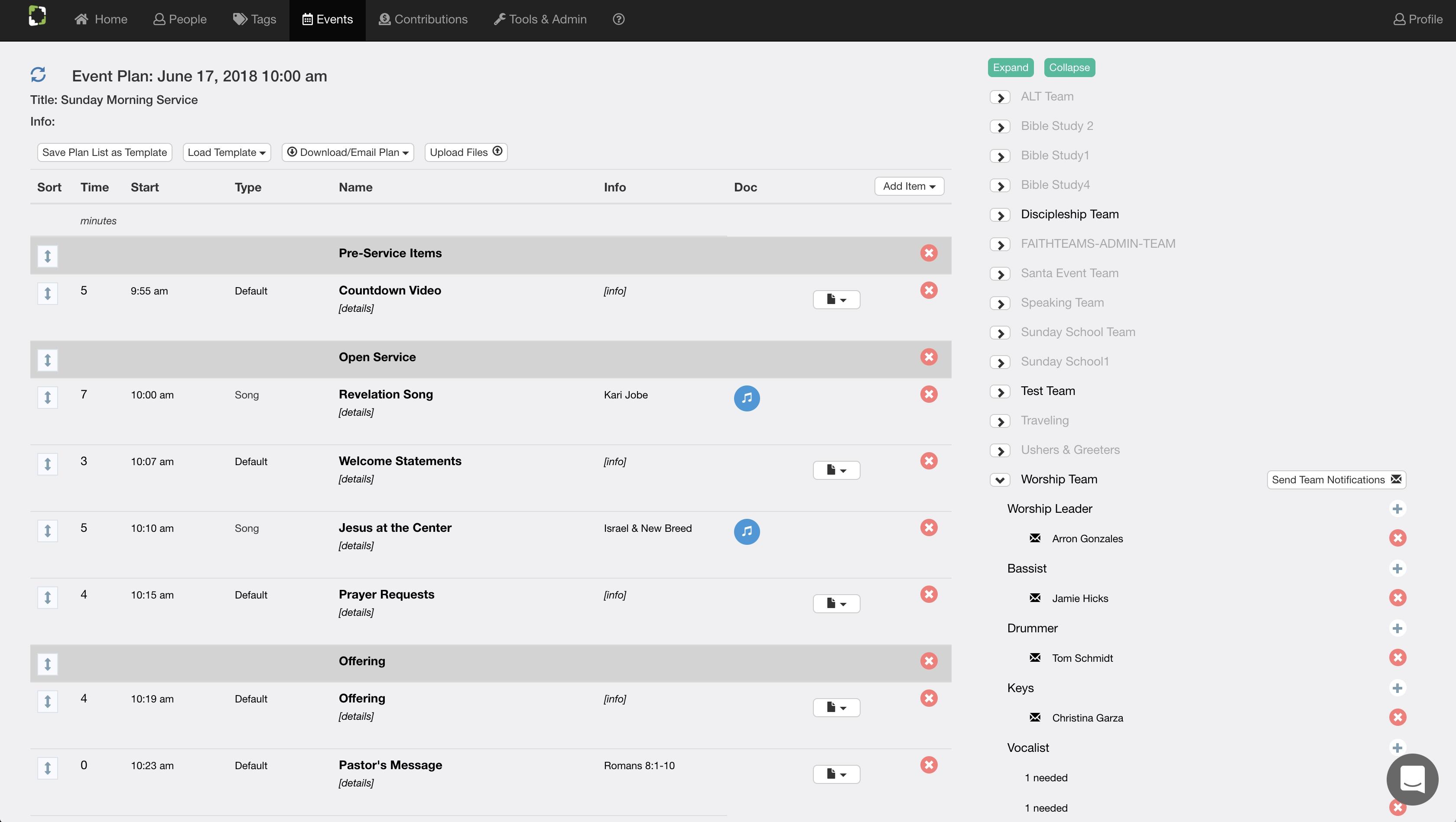 Faith Teams Service Planning - Web