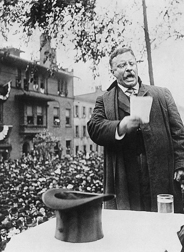 Theodore Roosevelt campaigning for President, 1912.