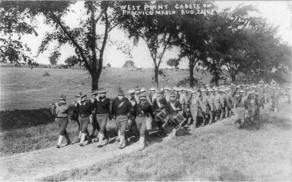 West Point: Cadets on practice march, Aug. 22, 1907