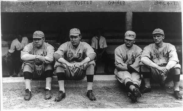 Babe Ruth, Ernie Shore, Rube Foster, Del Gainer, Boston Red Sox, American League