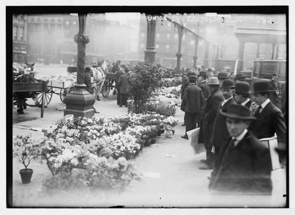 Easter flowers for sale in Union Square on Easter Sunday, New York
