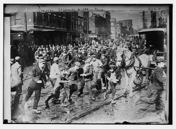 Strikers storming horse-drawn car, Philadelphia