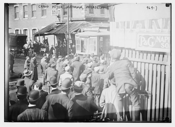 Strikers clamoring for motorman of car, Philadelphia