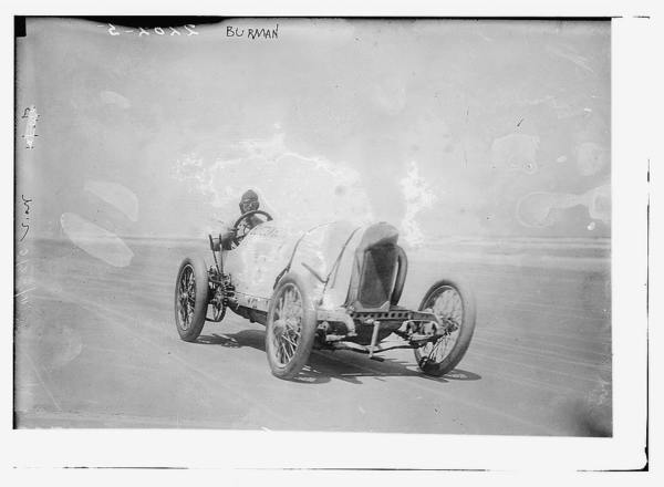 "Race car driver Bob Burman and his ""Blitzen Benz"""