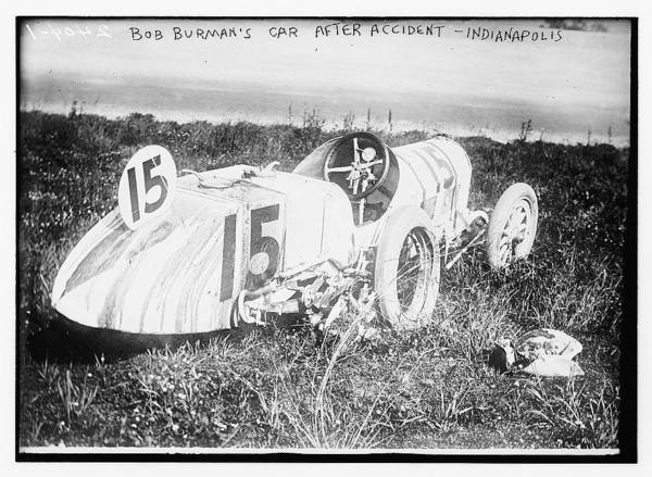 Bob Burman's car after accident - Indianapolis