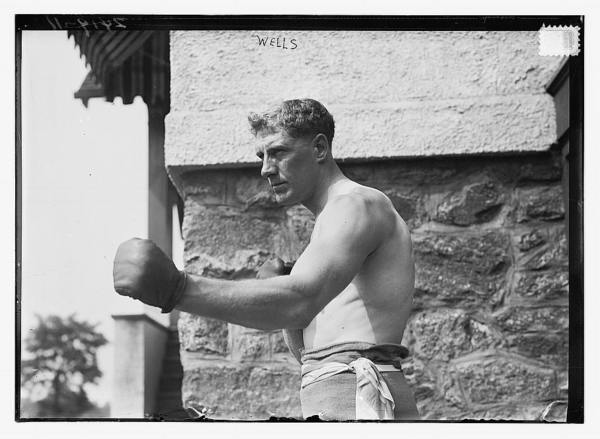 Bombardier Billy Wells, English boxer, preparing in Rye, N.Y., for fight with Al Panzer