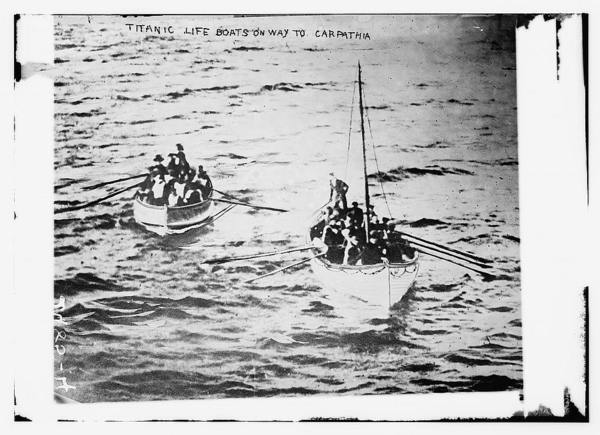 TITANIC life boats on way to CARPATHIA