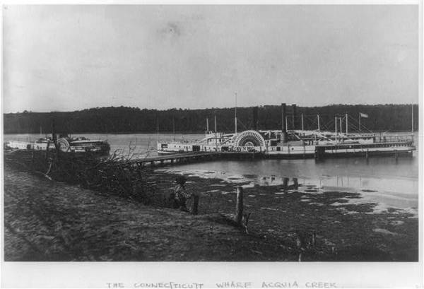 "Medical supply ships ""Connecticut"" and ""Planter"" docked at a wharf on the Appomattox River"