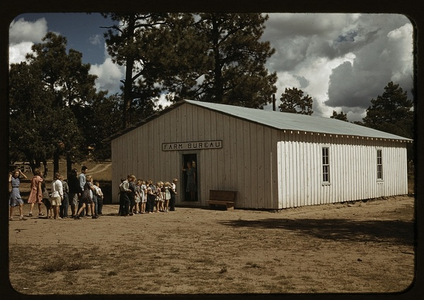 The school at Pie Town, New Mexico is held in the Farm Bureau building, which was constructed by cooperative effort