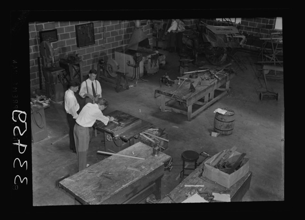 Keysville, Virginia. Randolph Henry High School. Interior of vocational shop where boys learn to repair farm machinery, carpentering and welding. Machine shop is a three-year course