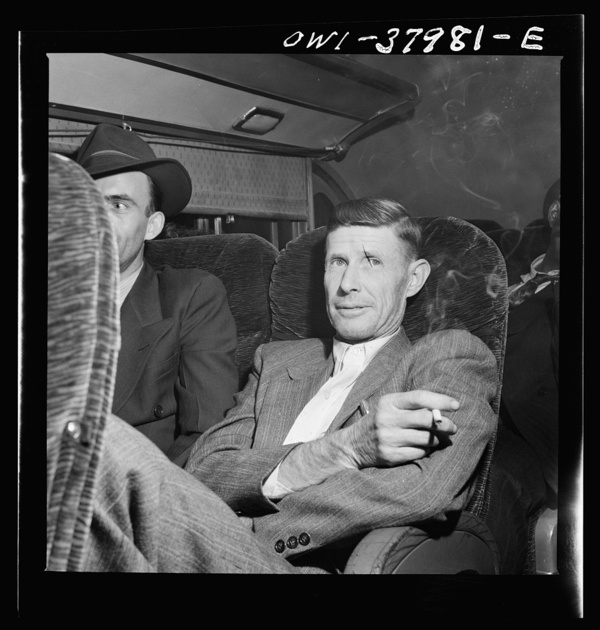 A Greyhound bus trip from Louisville, Kentucky, to Memphis, Tennessee, and the terminals. Man returning to Tennessee from his second trip to Ohio to get a defense job