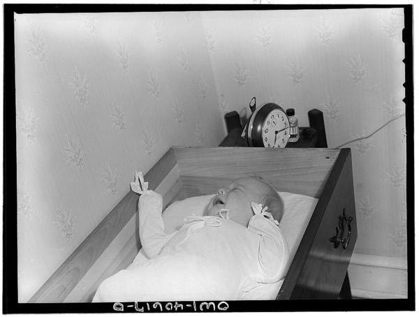 Washington, D.C. -Joey Massman, infant son of a petty class officer who is studying in Washington, sleeping in a bureau drawer